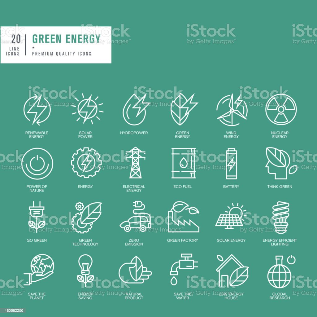 Set of thin line web icons for green energy vector art illustration
