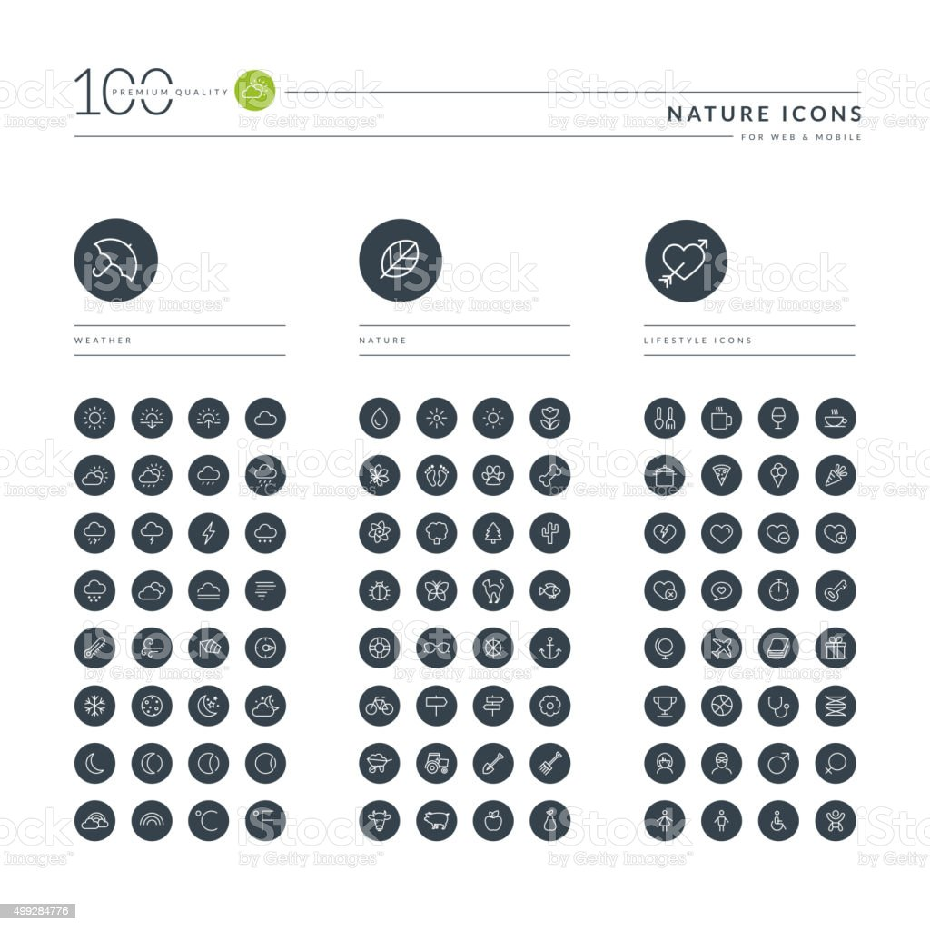 Conjunto de iconos de líneas finas para web y naturaleza illustracion libre de derechos libre de derechos