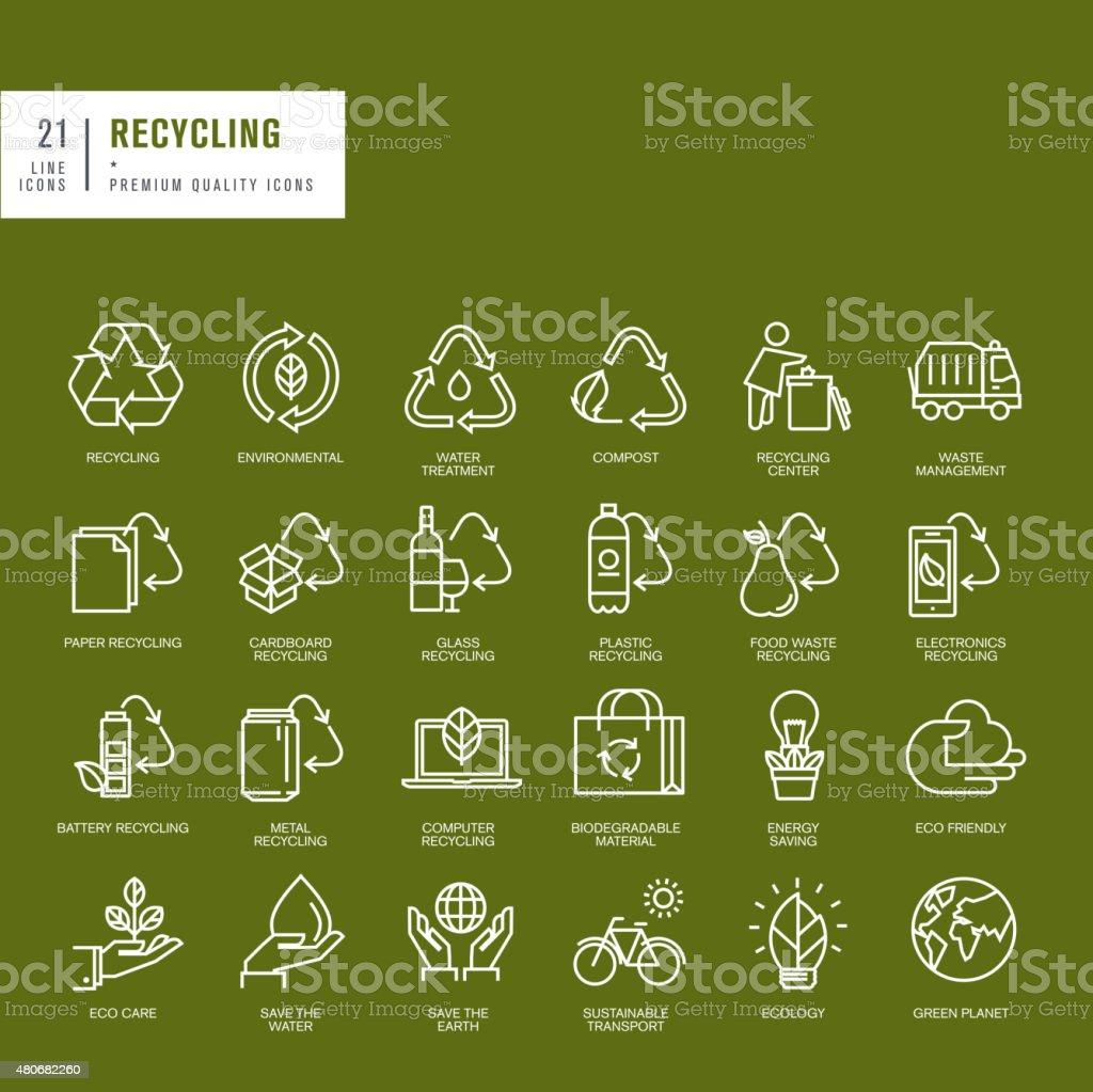 Conjunto de iconos de líneas finas para web de reciclado illustracion libre de derechos libre de derechos