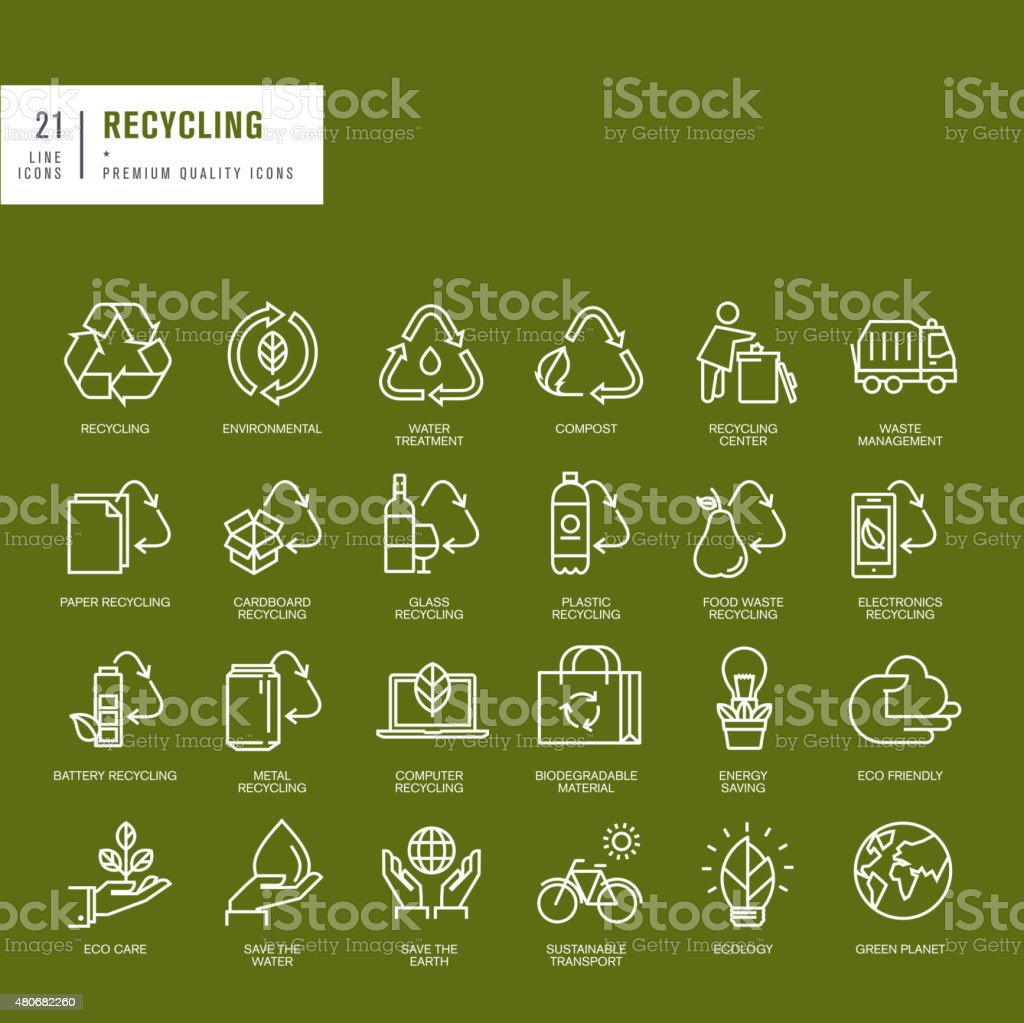 Set of thin line web icons for recycling vector art illustration