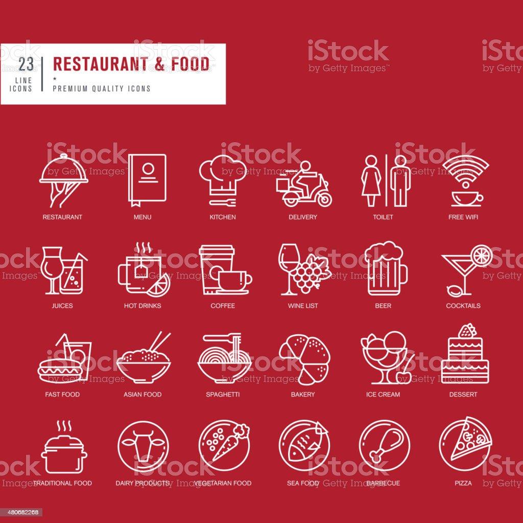 Conjunto de iconos de líneas finas para web y restaurante de comida illustracion libre de derechos libre de derechos