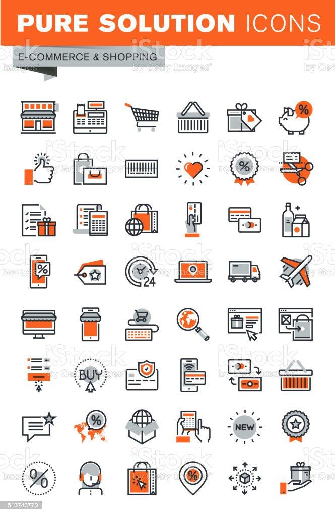 Conjunto de iconos de línea fina de compras Web illustracion libre de derechos libre de derechos