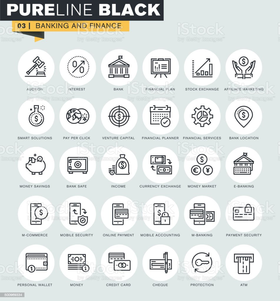 Conjunto de línea fina web iconos de banca y Finanzas illustracion libre de derechos libre de derechos