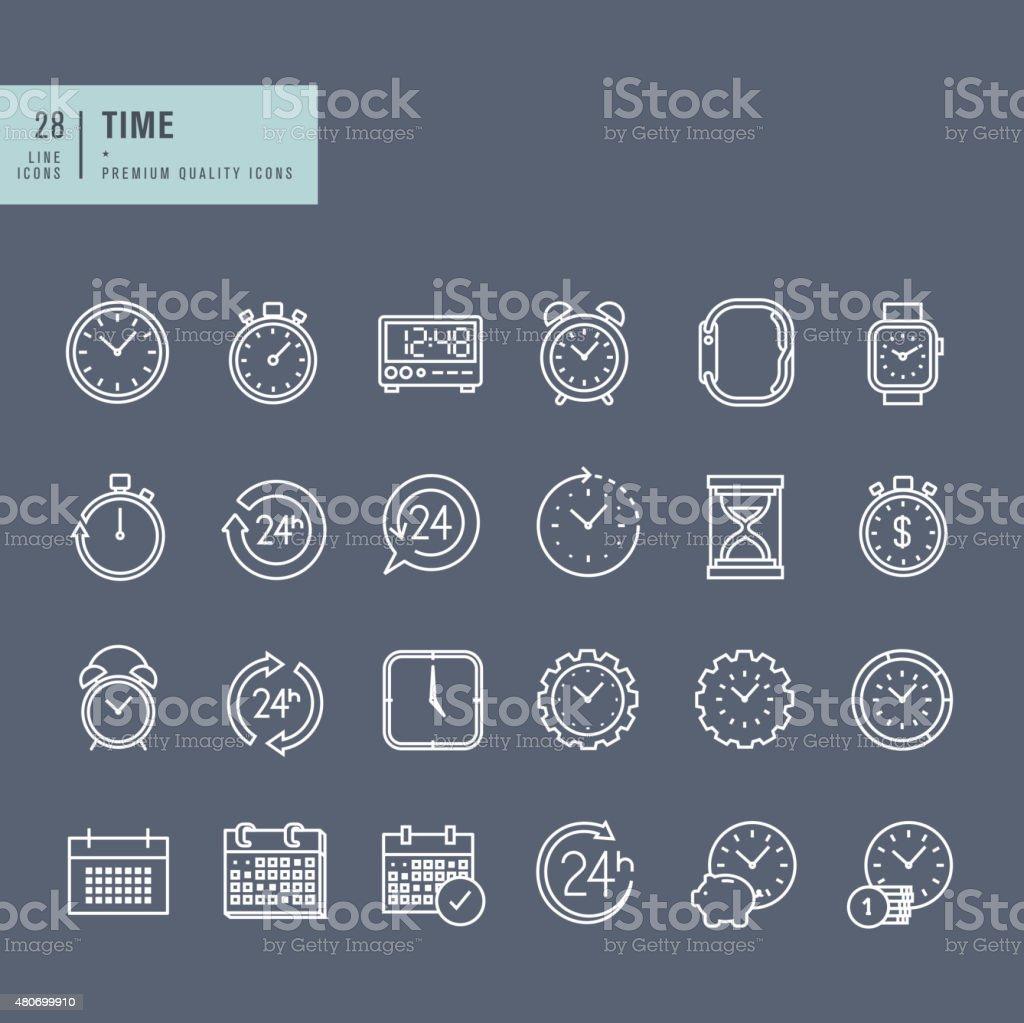 Conjunto de línea fina web iconos en el tema del tiempo illustracion libre de derechos libre de derechos