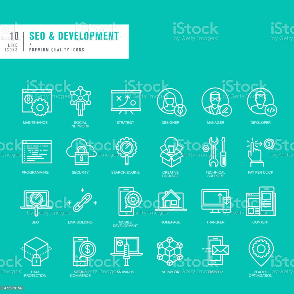 Set of thin lines icons for SEO and website development vector art illustration