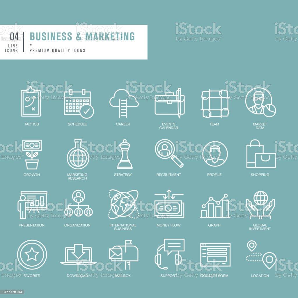 Conjunto de iconos de líneas finas para web de negocios illustracion libre de derechos libre de derechos