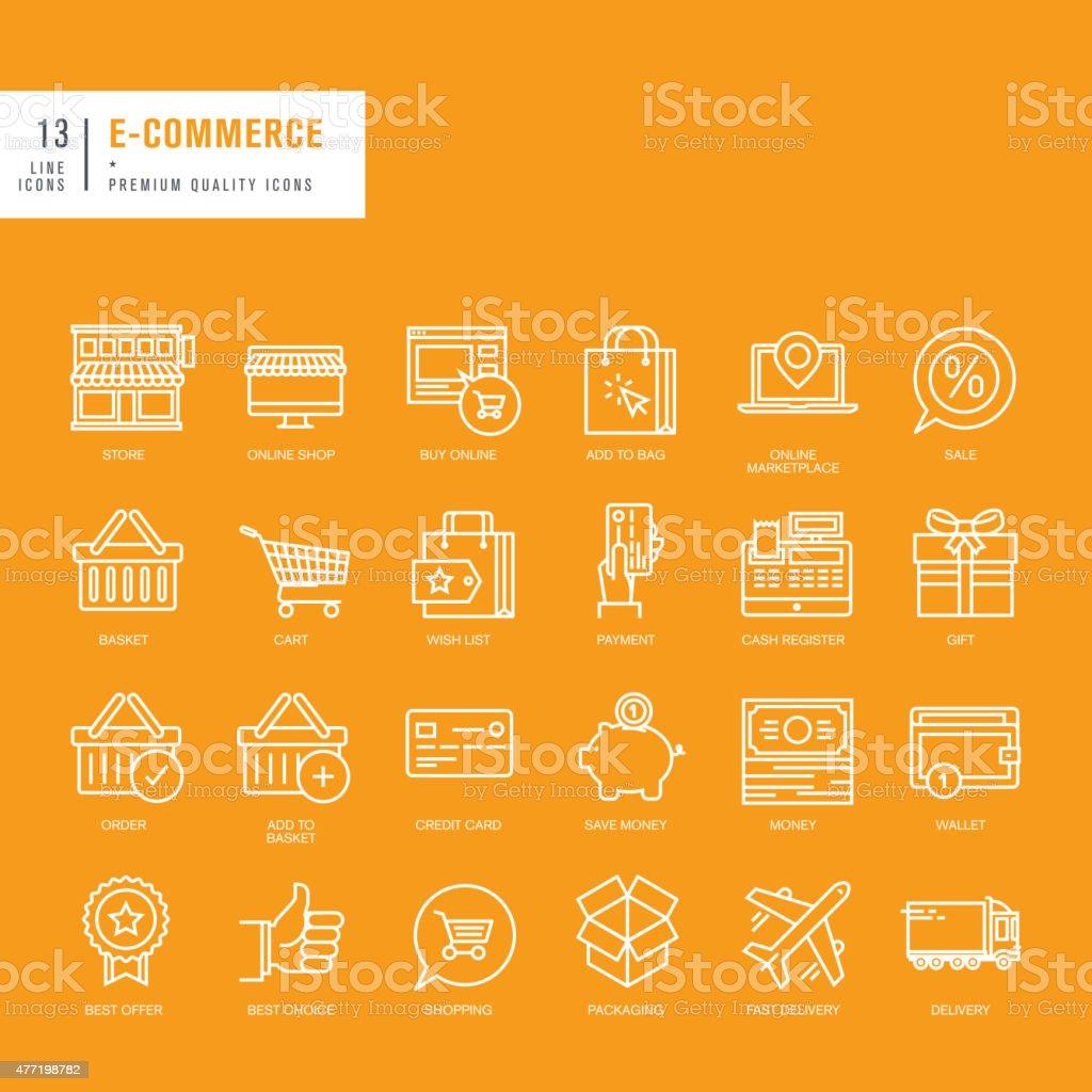 Conjunto de iconos de líneas finas para web de comercio electrónico illustracion libre de derechos libre de derechos