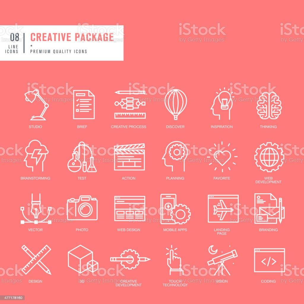 Conjunto de iconos de líneas finas para web y diseño gráfico web illustracion libre de derechos libre de derechos