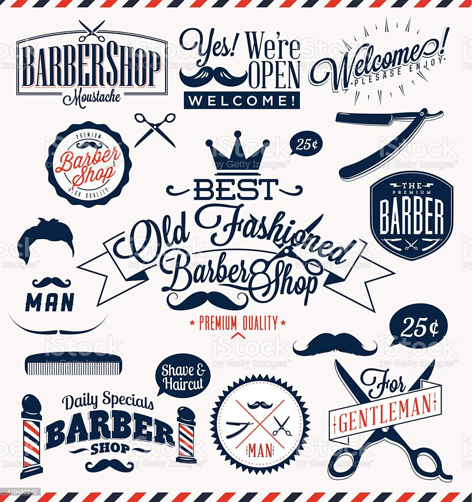 Clip art vector of vintage barber shop logo graphics and icon vector -  Set Of Thirteen Vintage Icons For Barber Shops Vector Art Illustration