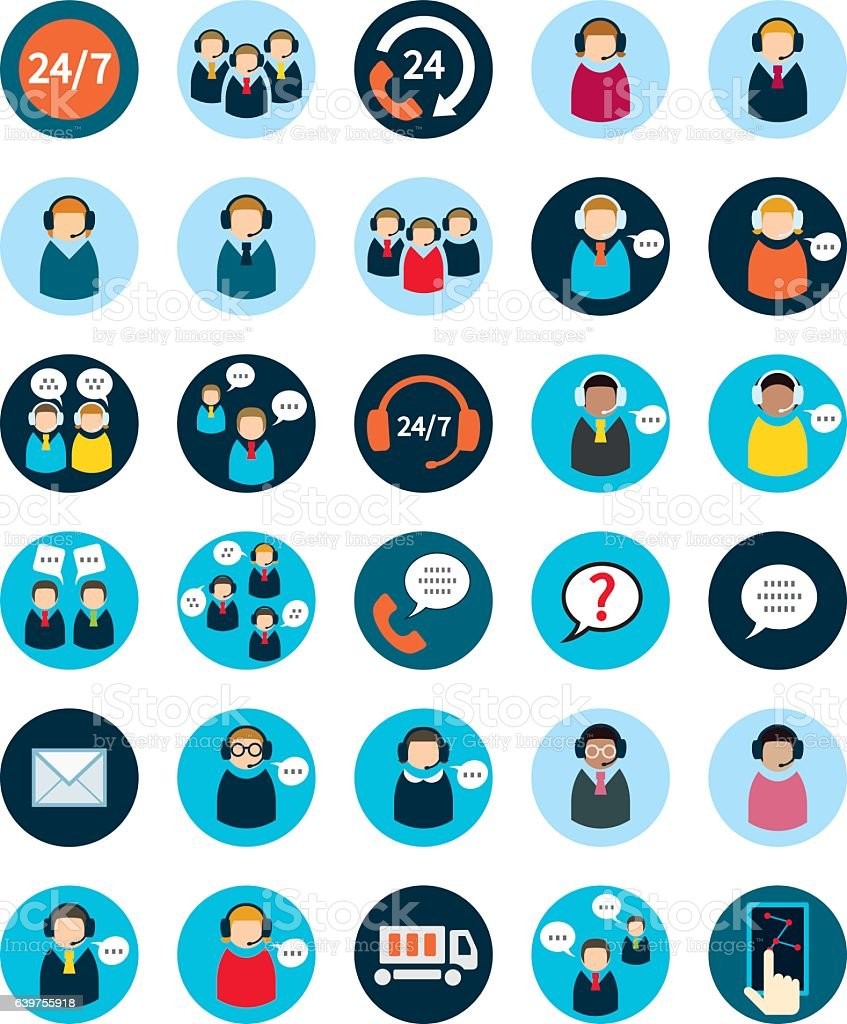 Set of thirty flat call center icons. vector art illustration
