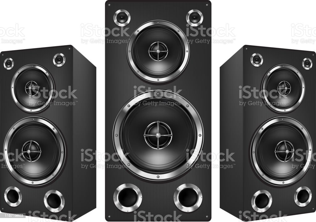 Set of three 3D speakers over a white background royalty-free stock vector art