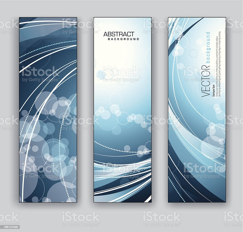 Set of three blue abstract banners with lines and circles royalty-free stock vector art