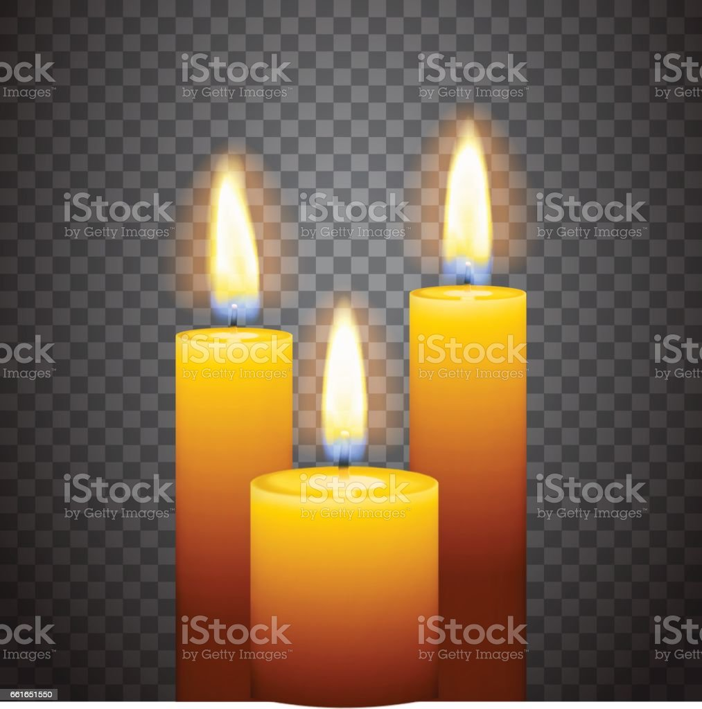 Set of three burning candles vector art illustration