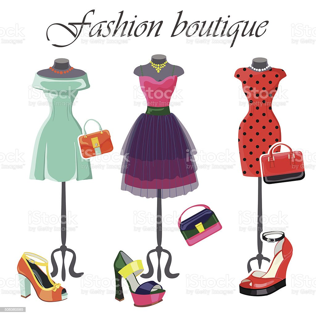 Set of  three colored dresses with accessories.Fashion illustrat vector art illustration