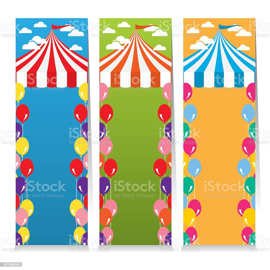 Set Of Three Colorful Circus Theme Vertical Banners vector art illustration
