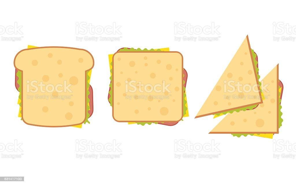 Set of three delicious sandwich vector art illustration