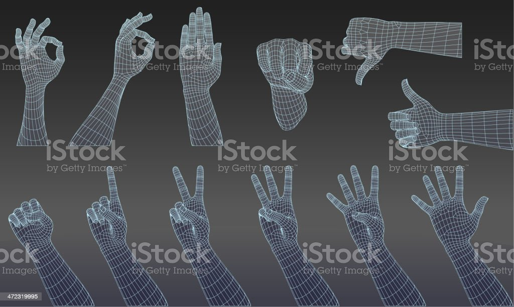 Set of three dimensional hands royalty-free stock vector art