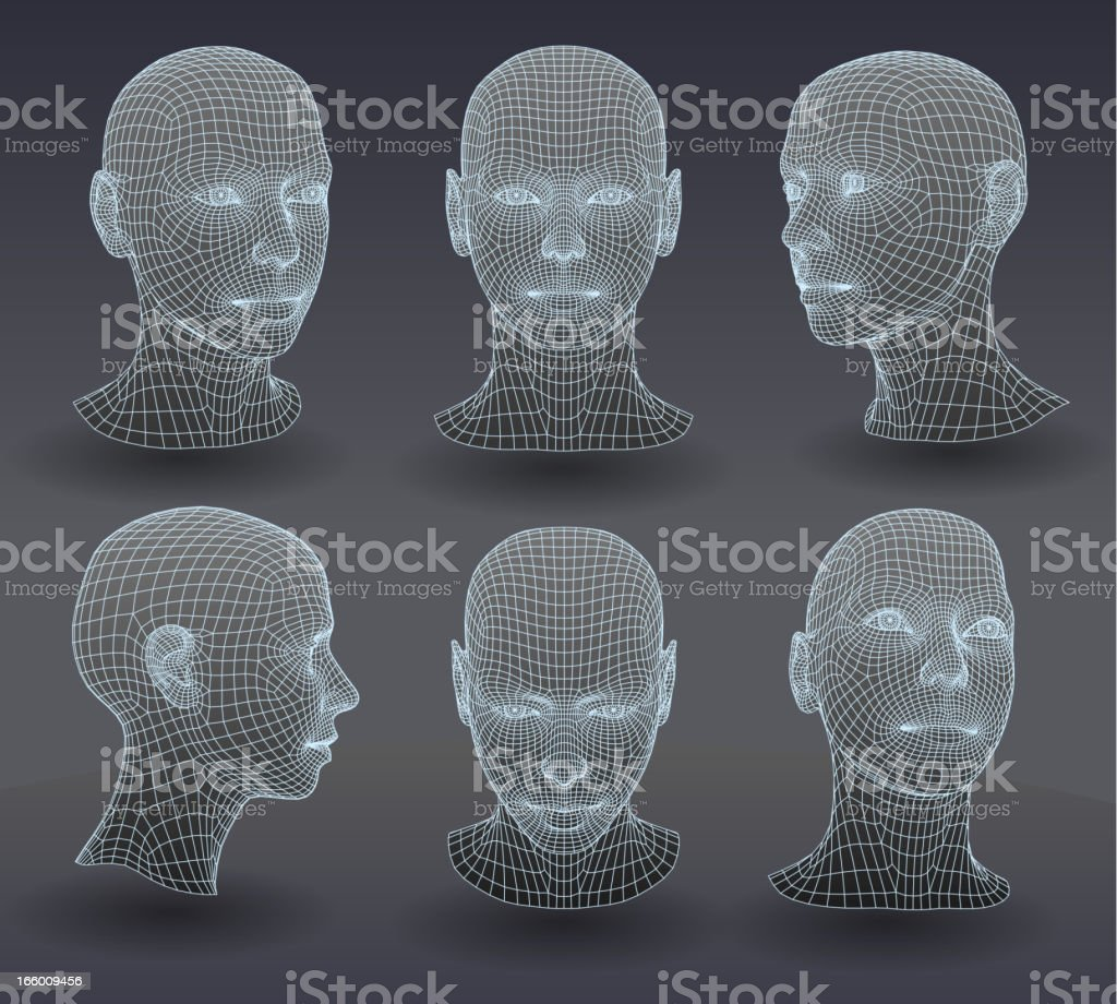 Set of three dimensional heads. vector art illustration