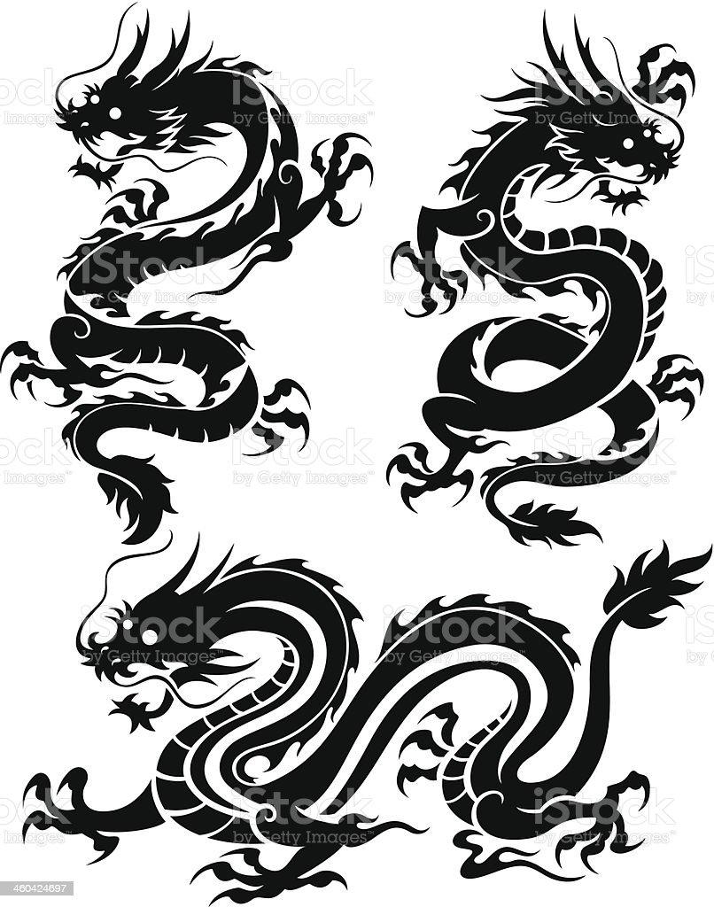 Set of three dragons vector art illustration
