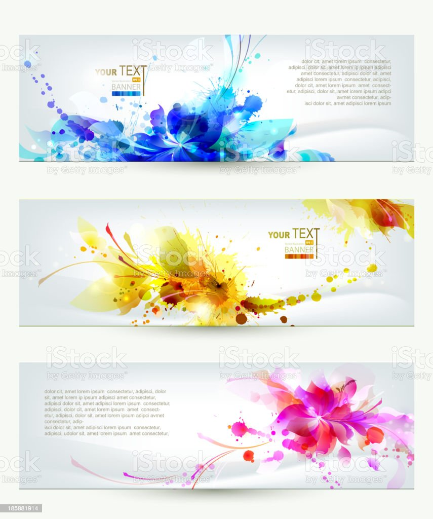 Set of three headers vector art illustration