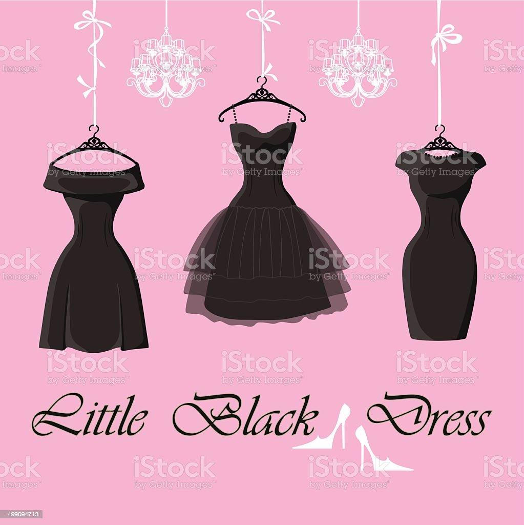 Set of  three little black dresses hang on ribbons vector art illustration