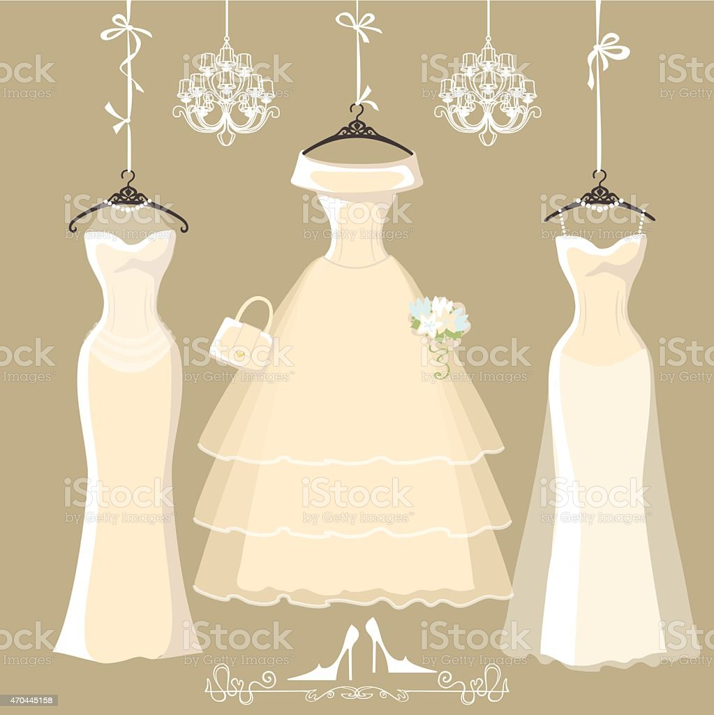 Set of  three long bridal dresses hang on ribbons vector art illustration