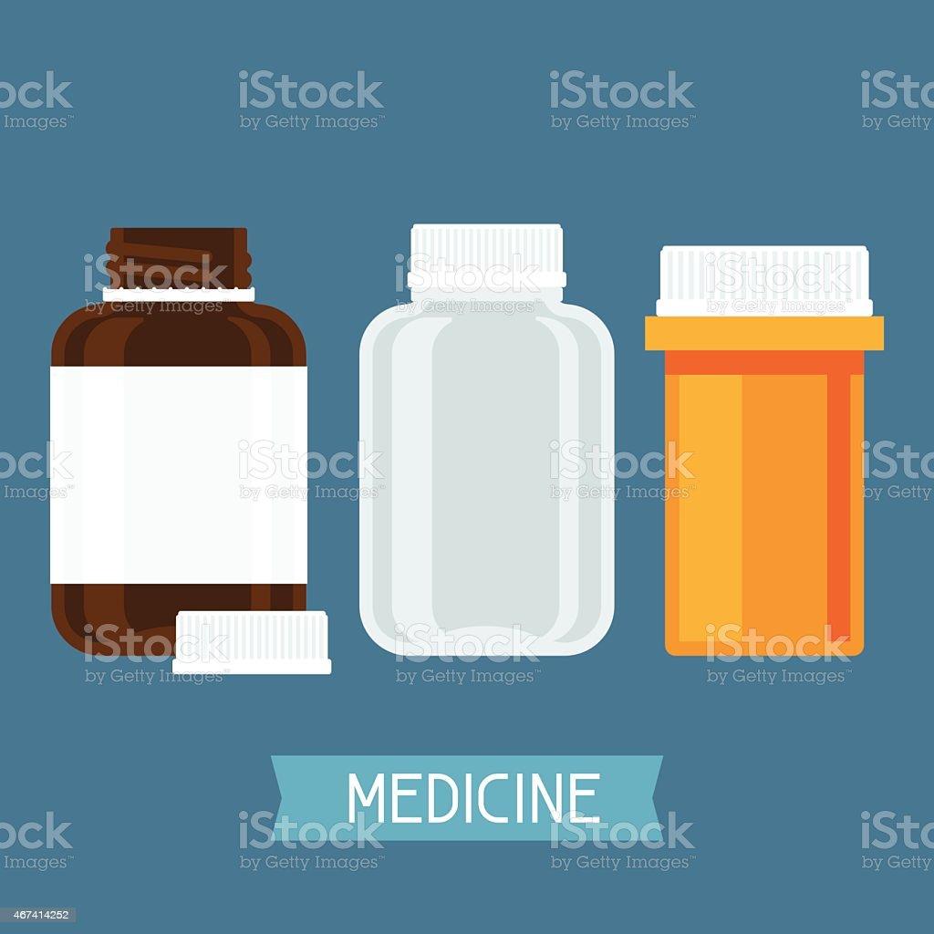 Set of three medical bottles with pills vector art illustration