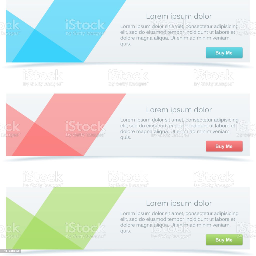 Set of three pastel-colored abstract banners vector art illustration