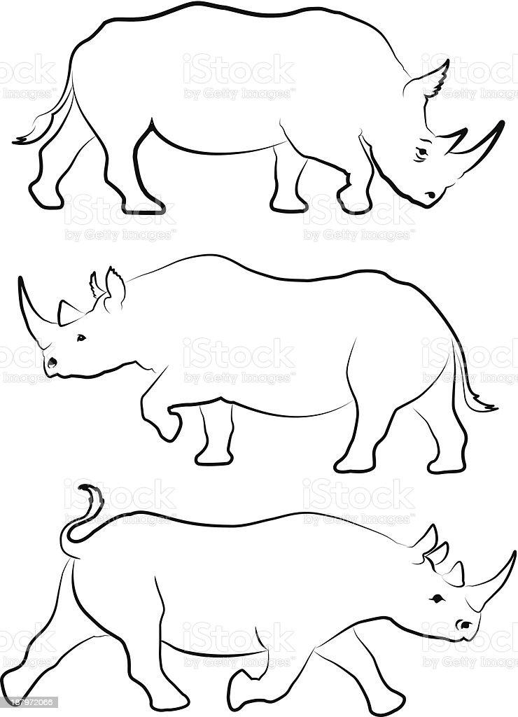 Set of three rhino line drawings royalty-free stock vector art
