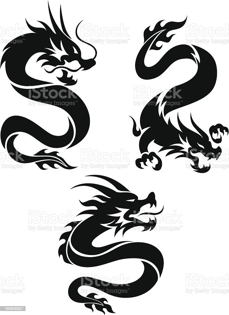 Set of three silhouette tattoo style Chinese dragons vector art illustration