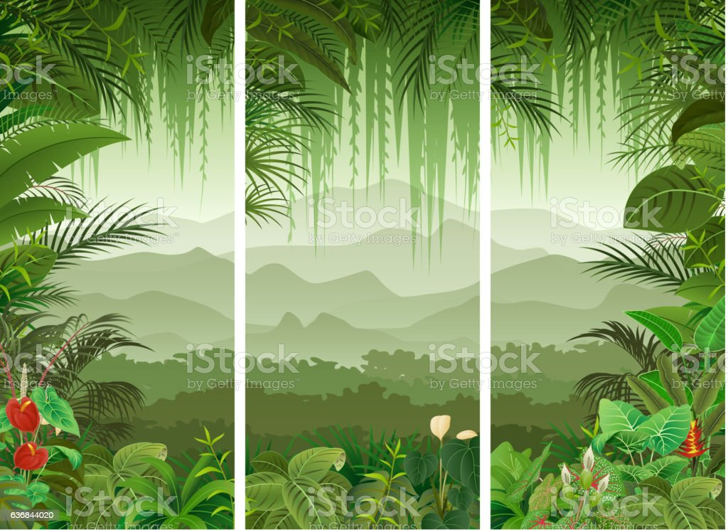 Set of three tropical forest background vector art illustration