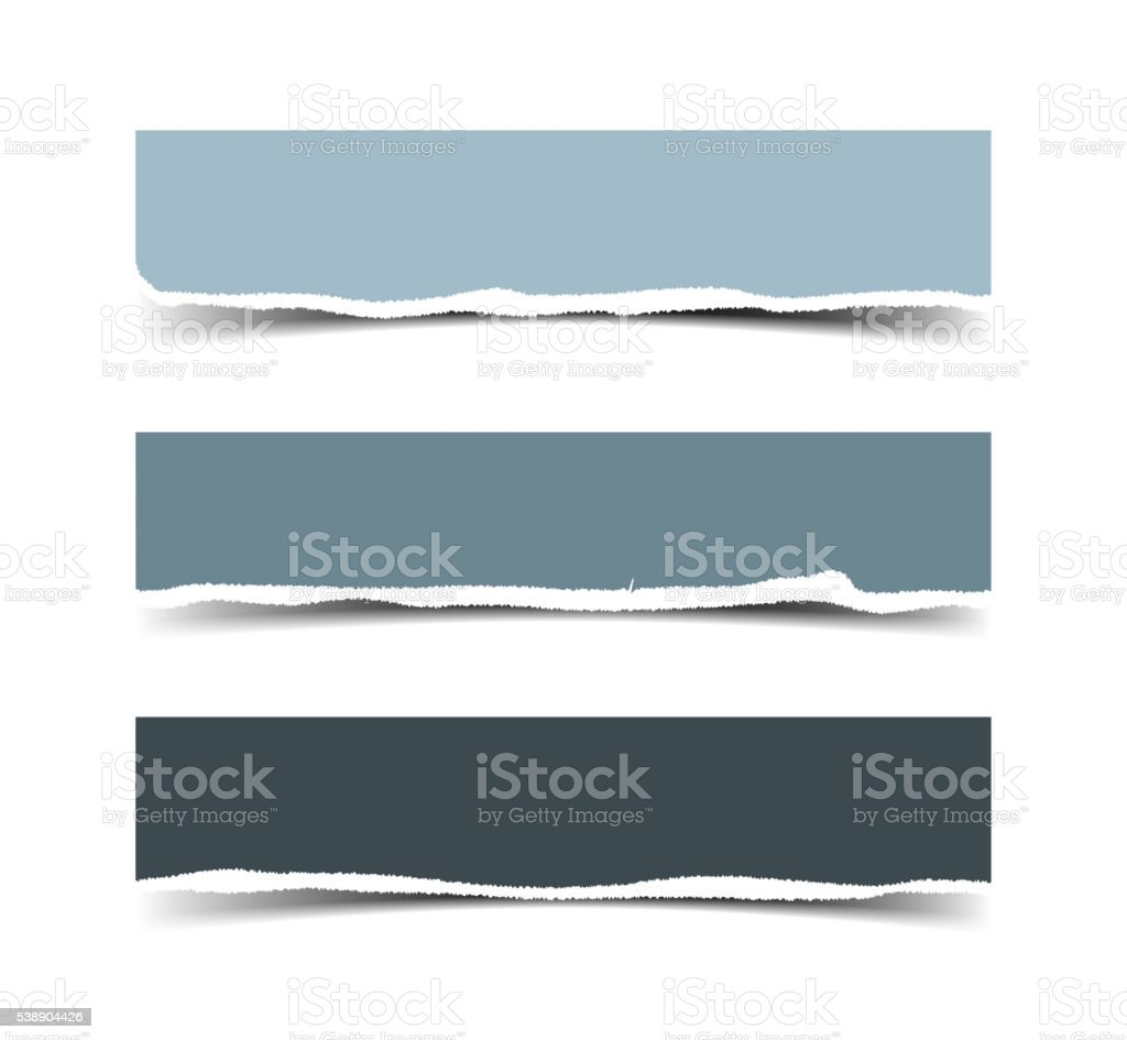 Set of three vector torn paper banners vector art illustration