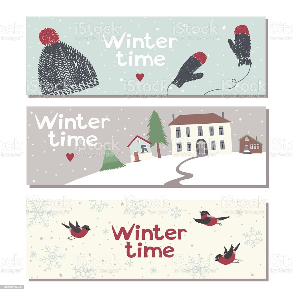 Set of three website horizontal winter banners vector art illustration