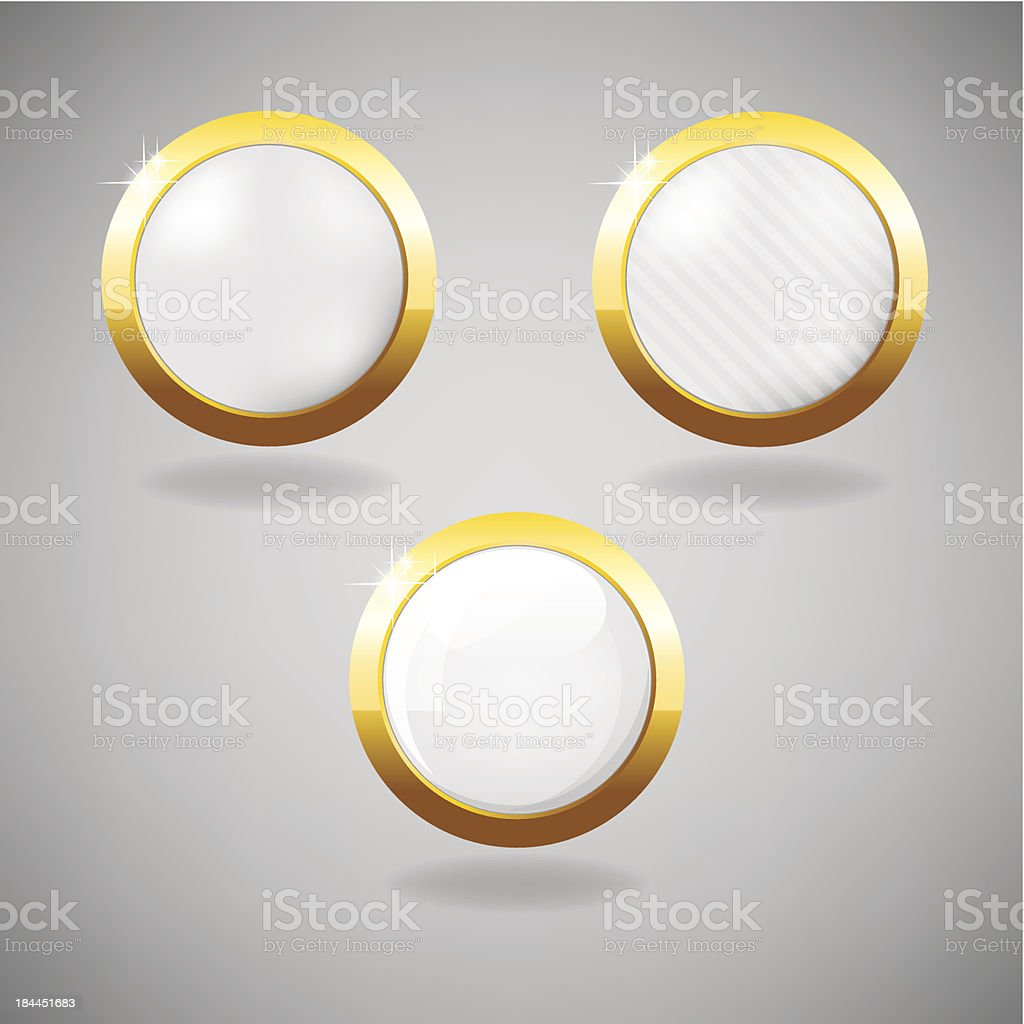 Set of three white and gold buttons on grey background. royalty-free stock vector art