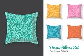Set Of Throw Pillows In Matching Unique Natural Doodle Seamless