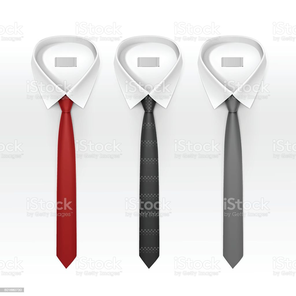 Set of Tied Striped Colored Silk Ties and Bow Ties vector art illustration