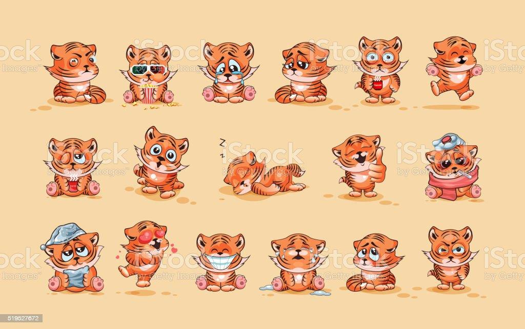 Set of Tiger cubs vector art illustration