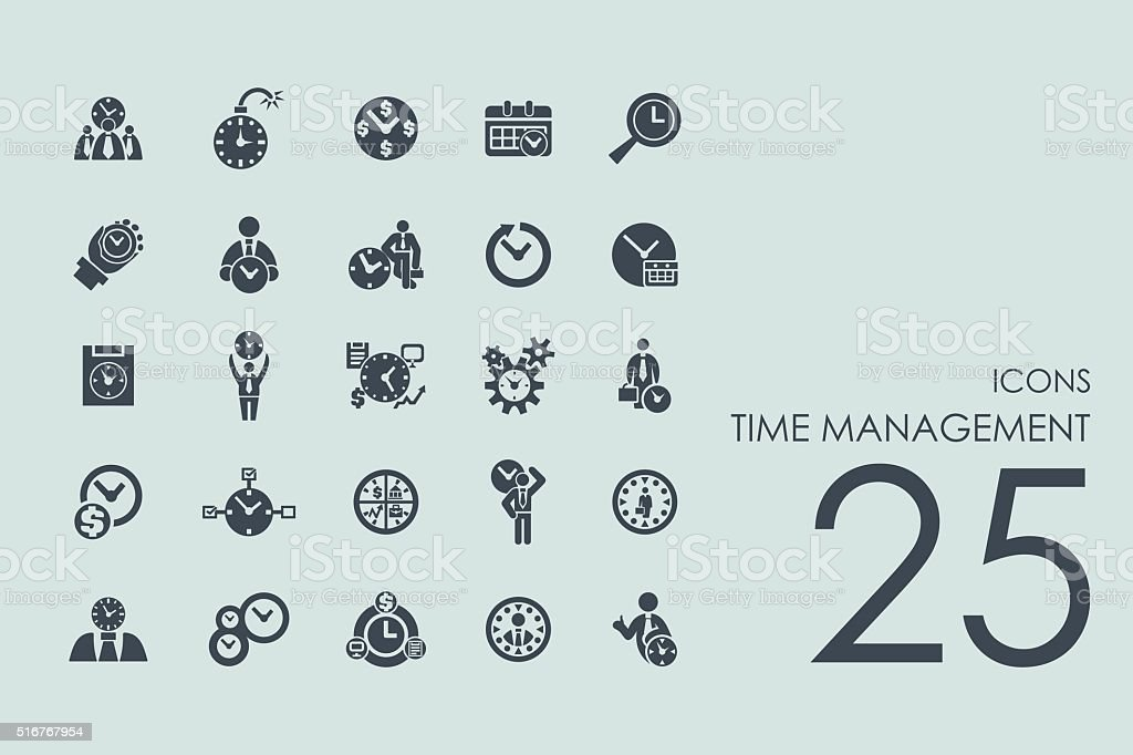 Set of time management icons vector art illustration