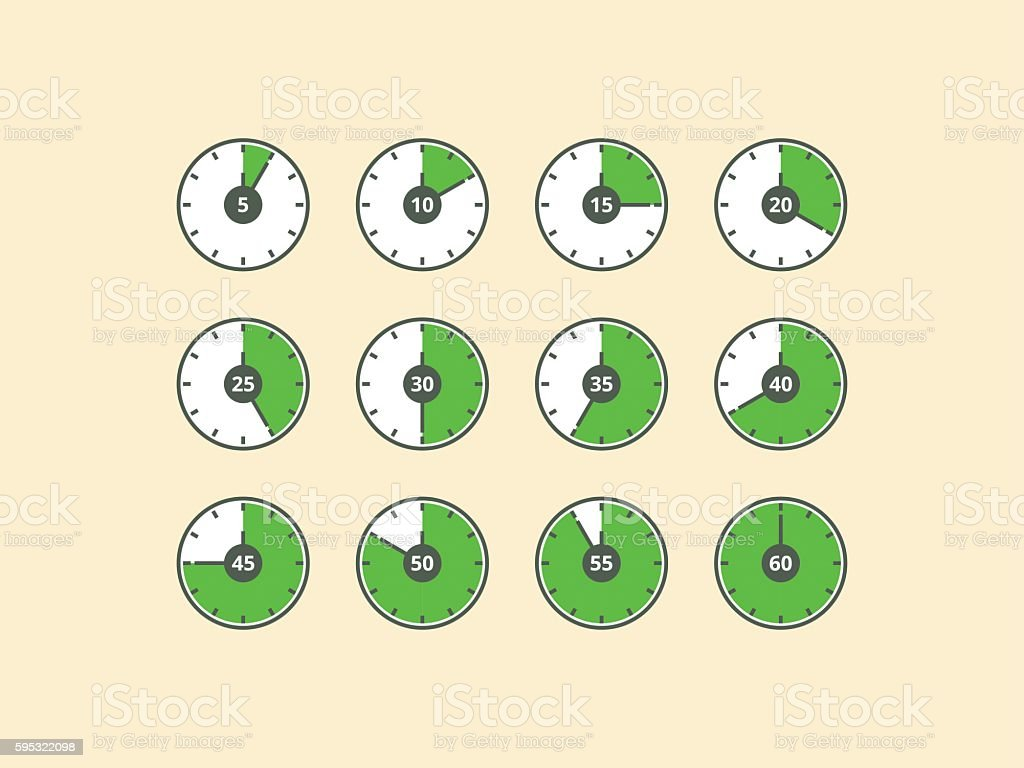Set of timer vector with numbers, flat design vector art illustration