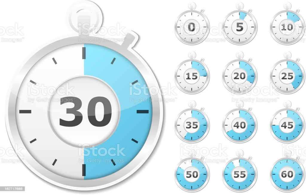 Set of timers showing every five minutes of the clock royalty-free stock vector art
