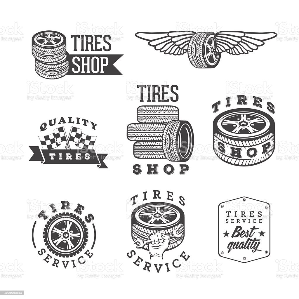 Set of tires shops and service emblems vector art illustration