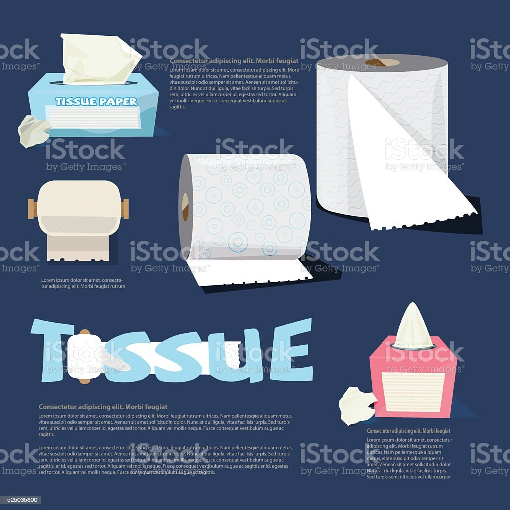 set of tissue paper. infographic. logotype. typographic - vector vector art illustration