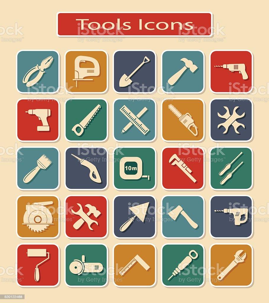 Set of Tools Icons vector art illustration