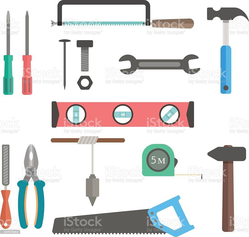 set of tools on white background vector art illustration