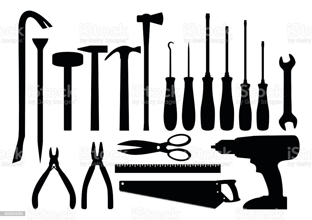 Set of tools vector art illustration