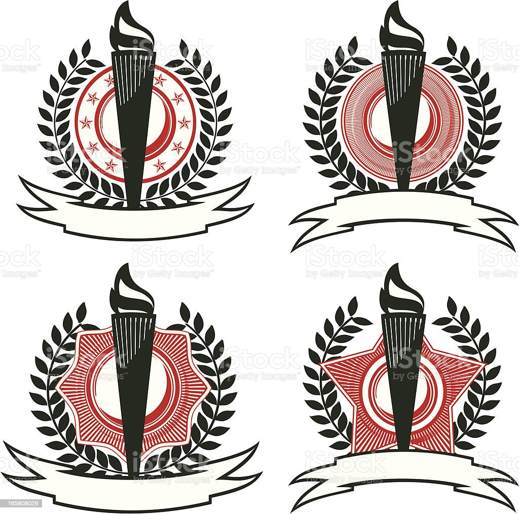Set of Olympic torch emblem royalty-free stock vector art
