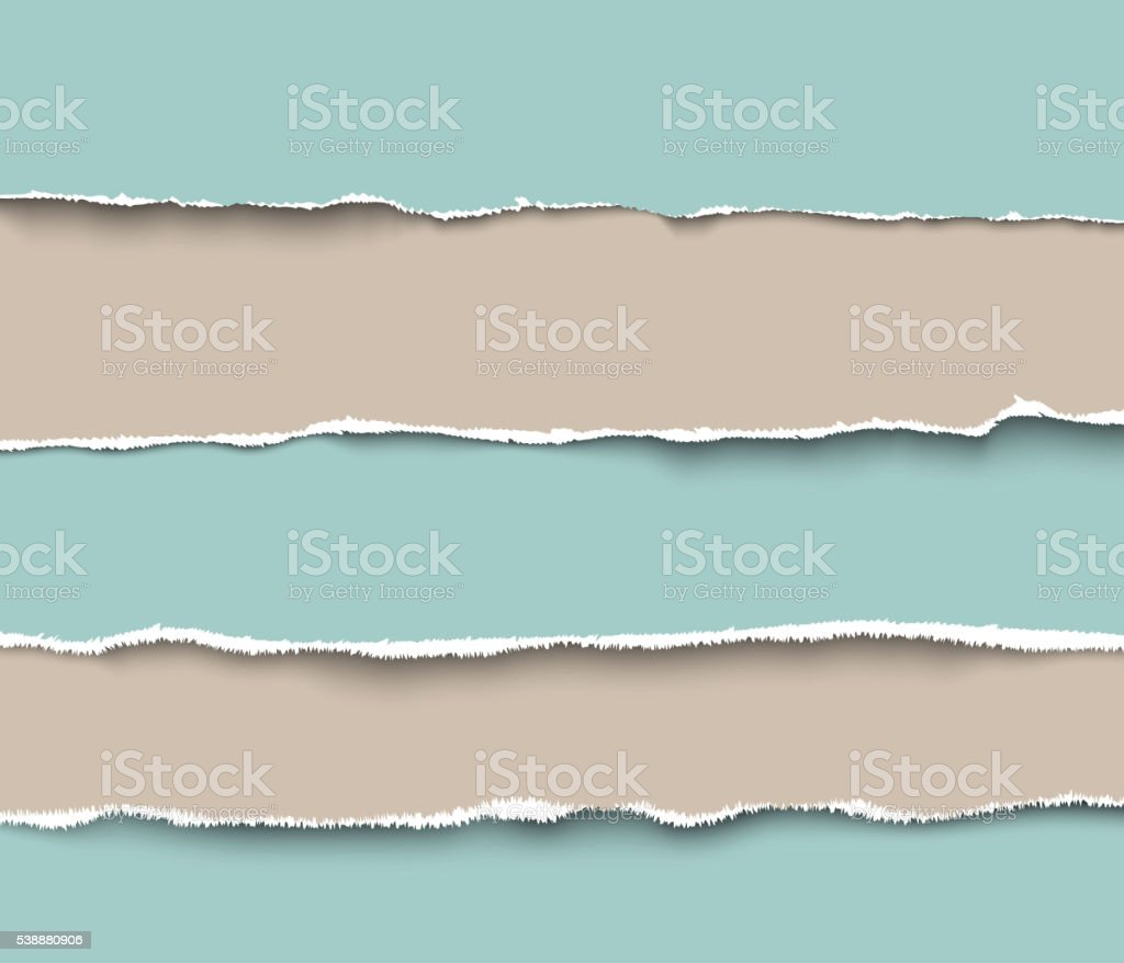 Set of torn craft paper pieces with rough edges vector art illustration