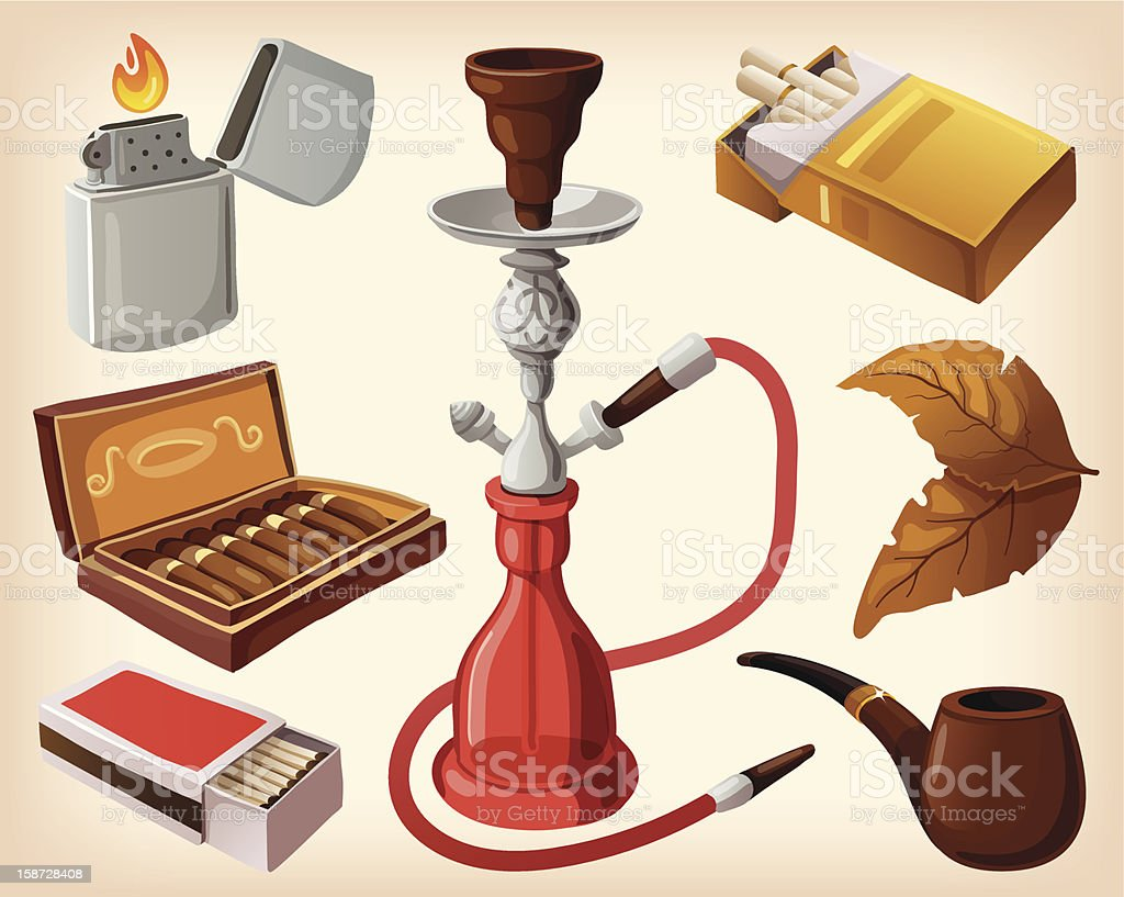 Set of traditional smoking devices. vector art illustration