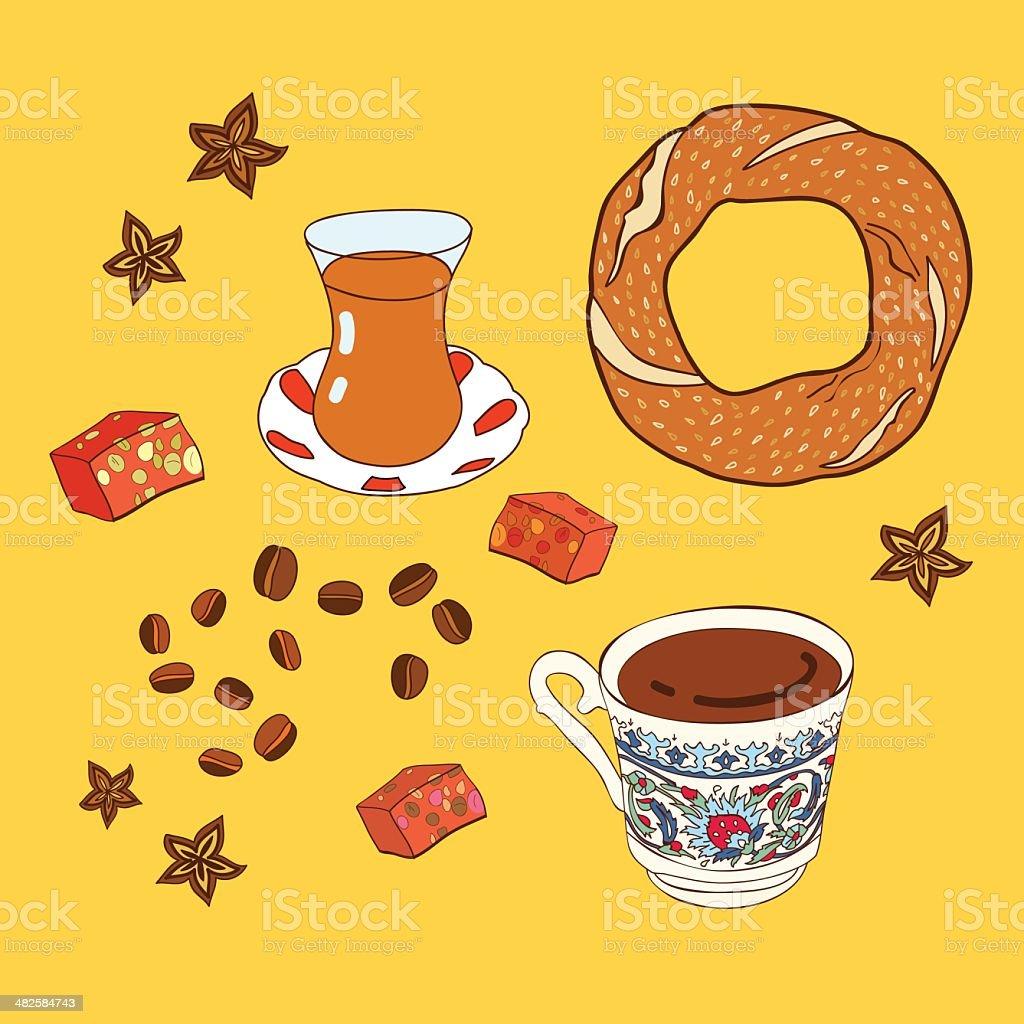 Set of traditional turkish tea and coffee break. vector art illustration