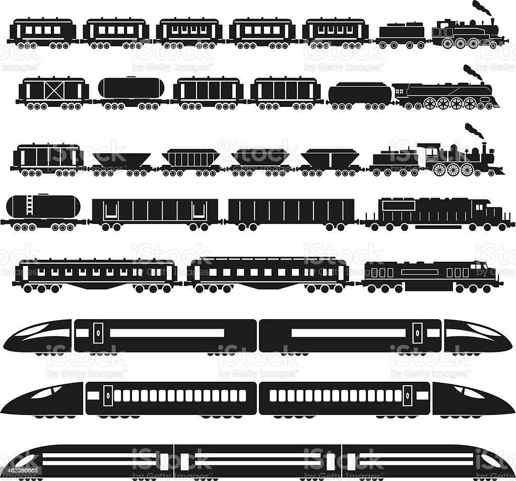 Set of trains vector art illustration